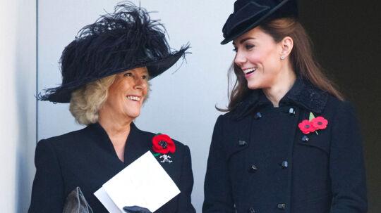 Camilla, hertuginden af Cornwall og hendes svigerdatter, Kate, hertuginden af Cambridge, hygger sig tydeligvis sammen.