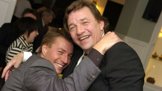 Steen Ankerdal her sammen med sønnen Morten Ankerdal ved Steen Ankerdals fest på Stammershalle Badehotel nær Rønne.