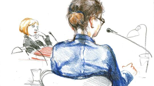 Amanda Jacobsen under retssagen, der mundede ud i en dom på tre år og seks måneder.