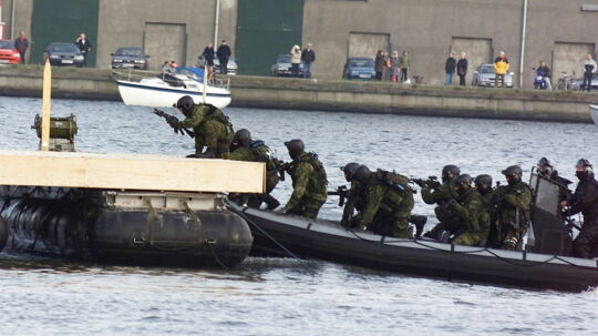 Jægerkorpset blev for første gang indsat i en international konflikt i 1995. Her ses jægerne under en opvisning i anledning af korpsets 40-års-jubilæum.