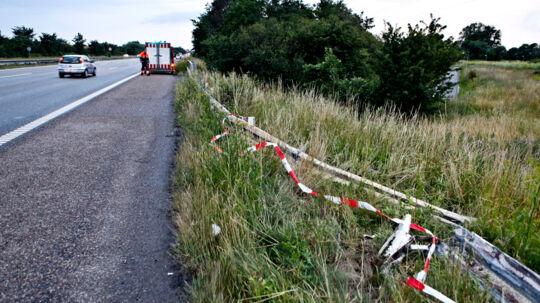 Autoværnetpå Køge Bugt Motorvejen, hvor familiefaren kørte galt.