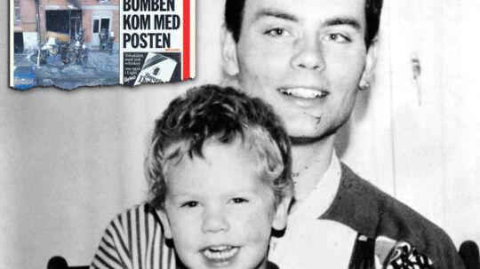 Henrik Christensen med sønnen Alexander. I venstre hjørne ses B.T.s omtale af drabet dagen derpå.