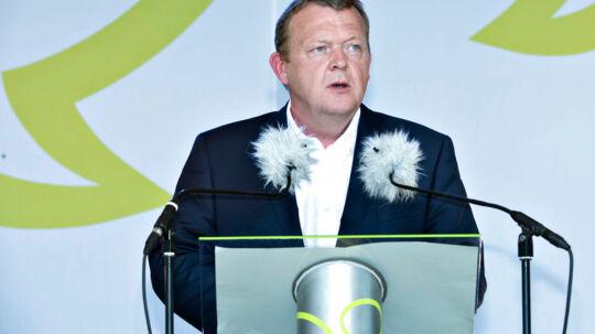 Lars Løkke Rasmussen taler på hovedscenen i Allinge under folkemødet på Bornholm lørdag 14. juni 2014.