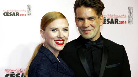 Skuespiller Scarlett Johansson og hendes forlovede Romain Dauriac (arkivfoto).
