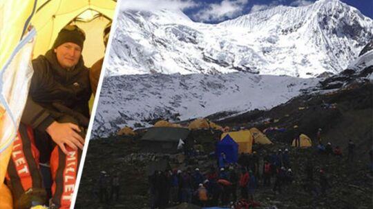 Danske Ole Mose Nielsen var få meter fra selv at blive dræbt af den lavine, der søndag kostede otte mennesker livet i Nepal
