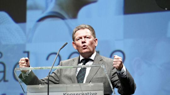 Formand for Det Konservative Folkeparti, Lars Barfoed, på talerstolen på partiets landsråd i Herning Kongrescenter lørdag d.29. september 2012.