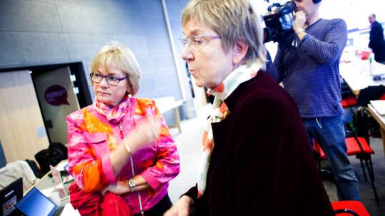 Kulturminister Marianne Jelved og Pia Kjærsgaard fra DF inden deres debat under Det Radikale Venstres nytårsstævne søndag d. 6 januar 2013 på Hotel Nyborg Strand. (Foto: NIels Ahlmann Olesen/Scanpix 2013)