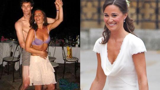 Til venstre ses Pippa danse i bh, mens hun til venstre ses i sin brudepige-kjole ved det royale bryllup.