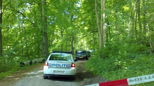 Den sorte bil i baggrunden af billedet er røvernes flugtbil. Den blev for en måned siden stjålet i Ballerup.