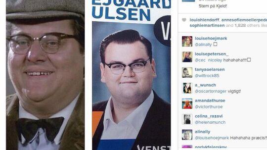 En bruger på billedetjenesten Istagram fandt den slående lighed mellem VU's EU-kandidat Nicolai Svejgaard Poulsen og Kjeld fra Olsen Banden.