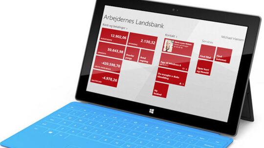 Sådan ser den nye Windows 8 bank-app ud.