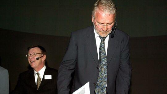 PFAs topchef, Henrik Heideby (til venstre), og formanden for PFAs bestyrelse, Svend Askær, er her fotograferet ved en PFA-generalforsamling, der fandt sted, mens samarbejdet angiveligt stadig fungerede upåklageligt. Arkivfoto: Jan Jørgensen
