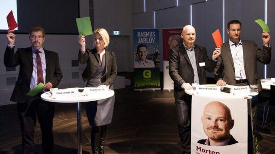 Overborgmester Frank Jensen (S), Pia Allerslev (V), Morten Kabell (EL) og Rasmus Jarlov (K) var blandt de kommunale spidskandidater, som i går mødte op i Industriens Hus for at diskutere hovedtemaer i den kommunale valgkamp.