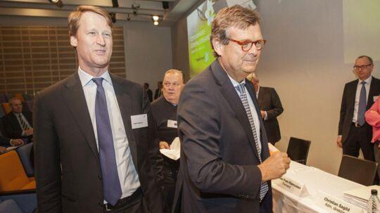 Michael Pram Rasmussen (th) stopper som formand i Topdanmark. Hans efterfølger bliver Søren Thorup Sørensen, og dermed forbigåes svenske Torbjörn Magnusson (tv), der ellers de facto allerede sidder på magten i Topdanmark.