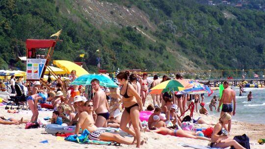 Albena stranden ved Sortehavet i Bulgarien