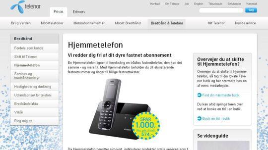 Opsig fastnetabonnementet hos TDC, og køb en mobil hjemmetelefon i stedet, siger Telenor, som lover en besparelse på 1.000 kroner allerede efter et halvt år.