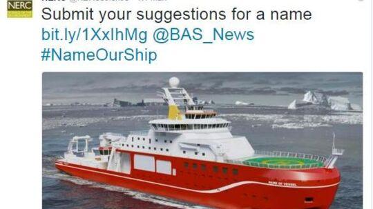 Et nyt forskningsskib til polarområdet er ved at blive bygget i Storbritannien. Hvad skibet skal hedde, er endnu uvist, men mange har stemt på navnet »Boaty McBoatface«.