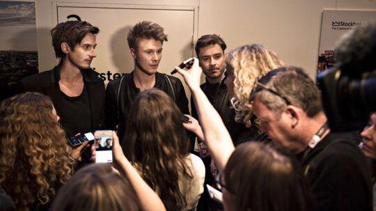 Lighthouse X møder pressen efter nederlaget i semifinalen i Stockholm 2016. Søren Bregendal, Martin Skriver og Johannes Nymark