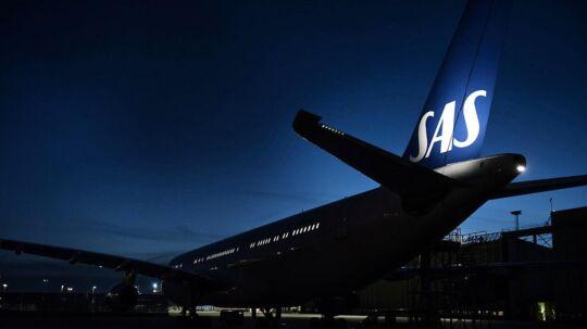 SAS fly Airbus 340 til service fotograferet i Københavns Lufthavn søndag den 25. oktober 2015.