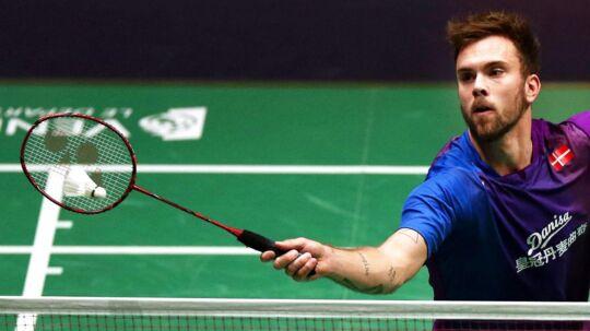 Badmintonspilleren Jan Ø. Jørgensen var i problemer, da han fredag vandt over indonesiske Jonatan Christie.