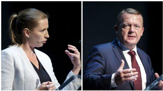 De to største partiers respektive ledere, statsminister Lars Løkke Rasmussen (V) og Mette Frederiksen (S), var mødt op for at tale på Dansk Industris topmøde.