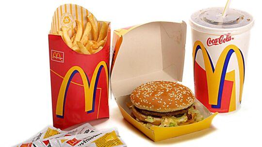 Menu fra McDonald's.