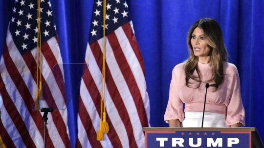 Talen i Berwyn lidt uden for Philadelphia var Melania Trumps første siden det republikanske partikonvent i juli.