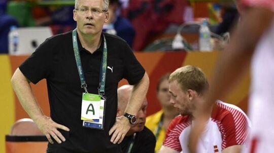 Gudmundur Gudmundsson fanget i et spekulativt øjeblik under OL-slutrunden i Rio.