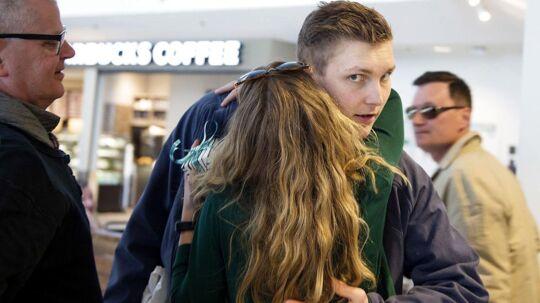Viktor Axelsen modtages i Københavns Lufthavn efter hjemkomsten fra EM i Frankrig i maj.