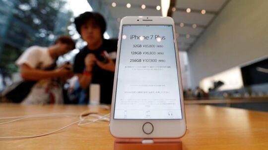 Apples iPhone 7 kort efter lanceringen af den i starten af spetember 2016.