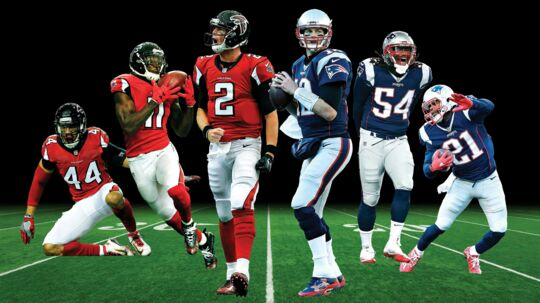 Søndag nat mødes Atlanta Falcons og New England Patriots i Super Bowl 51 i Houston. Her er seks af nøglespillerne (fra venstre mod højre): Vic Beasley, Julio Jones og Matt Ryan fra Atlanta Falcons samt Tom Brady, Dont'a Hightower og Malcolm Butler fra New England Patriots. Fotomontage: Iris og AFP
