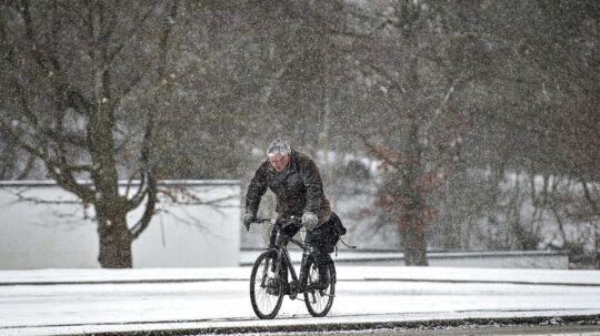 Der er faldet op til syv centimeter sne i nat landet over.