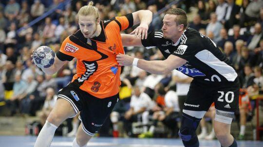 Århus Håndbold (orange trøjer) førte - men endte med at tabe til mestrene fra BSV.