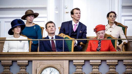 Folketingets åbning tirsdag d. 4. oktober 2016. Kronprinsesse Mary, Kronprins Frederik, Dronning Margrethe, Prinsesse Benedikte, Prins Joachim og Prinsesse Marie