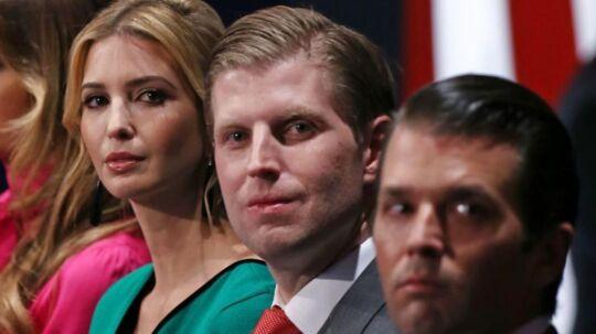 Fra venstre: Ivanka, Eric og Donald jr. Trump. Arkivfoto: Scanpix/ AFP PHOTO / Tasos Katopodis