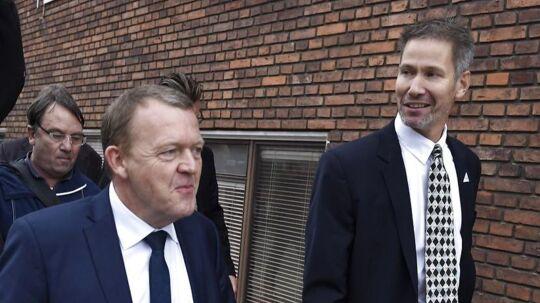 Slagelses borgmester Stén Knuth har meldt hele byrådet til politiet. Her ses han sammen med Lars Løkke Rasmussen.