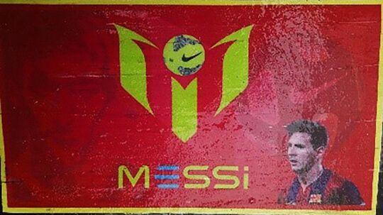 Forsiden af kokain-indpakningen med Lionel Messi på.