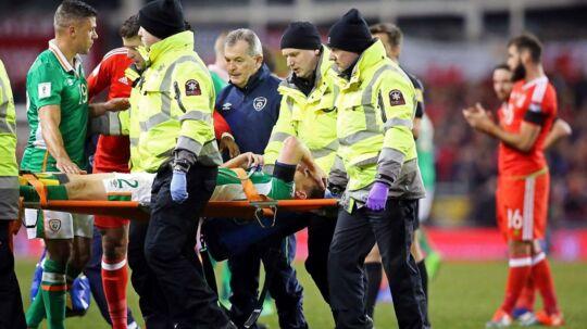 Seamus Coleman brækkede benet i fredagens 0-0-kamp mellem Wales og Irland.