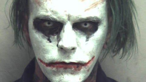 Mugshot af 31-årige Jeremy Putnan klædt ud som Jokeren. Foto: Winchester Police