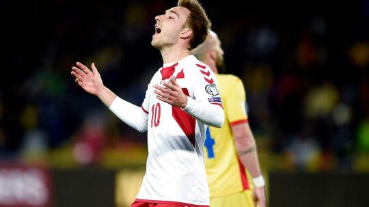 VM kvalifikationskamp mellem Rumænien-Danmark i Cluj, Rumænien søndag d.26 marts 2017. Danmarks Christian Eriksen