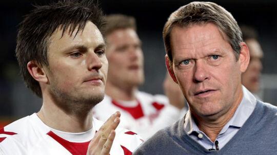 William Kvist (tv.) er ikke enig i Frank Arnesens kritik af landsholdet efter nullerten mod Rumænien