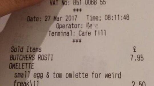 Kvitteringen som Steve Dempsters kone modtog efter et café-besøg i Harrogate, England. Foto: privatfoto