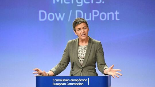 European Competition Commissioner, Denmark's Margrethe Vestager addresses a press conference on the merger between US agri-chemicals giants Dow Chemical and DuPont at the European Commission in Brussels on March 27, 2017. The EU on March 27 approved a $130 billion mega-merger of US agri-chemicals giants Dow Chemical and DuPont, paving the way for major consolidation in a sensitive sector for farmers and the environment. / AFP PHOTO / EMMANUEL DUNAND