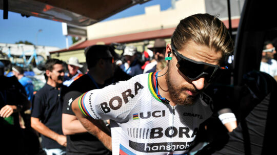 """CORRECTION - Peter Sagan of Slovakia prepares for the first stage of the Tour Down Under cycling race from Adelaide to Tanunda, in Adelaide on January 17, 2017. / AFP PHOTO / David Mariuz / IMAGE RESTRICTED TO EDITORIAL USE - STRICTLY NO COMMERCIAL USE / """"The erroneous mention[s] appearing in the metadata of this photo by David Mariuz has been modified in AFP systems in the following manner: [Peter Sagan of Slovakia] instead of [Peter Sagan of Germany]. Please immediately remove the erroneous mention[s] from all your online services and delete it (them) from your servers. If you have been authorized by AFP to distribute it (them) to third parties, please ensure that the same actions are carried out by them. Failure to promptly comply with these instructions will entail liability on your part for any continued or post notification usage. Therefore we thank you very much for all your attention and prompt action. We are sorry for the inconvenience this notification may cause and remain at your disposal for any further information you may require."""""""