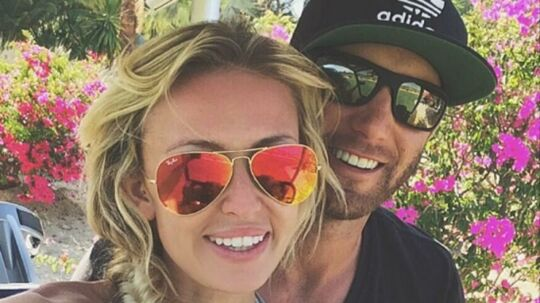 Golfstjernen Dustin Johnson og hans kone, Paulina Gretzky.