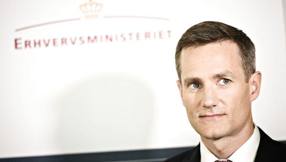 Den nyudnævnte erhvervsminister Rasmus Jarlov (K) er utilfreds med, at